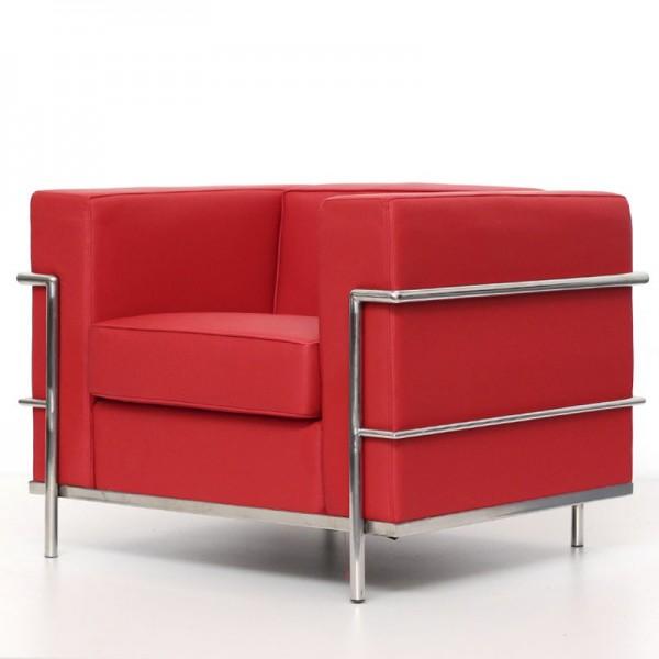 Sillón de diseño LECOR en similpiel rojo