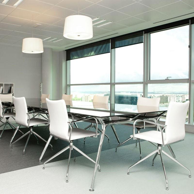 Mesas de Reunión ARKITEK de ACTIU con tablero de cristal blanco o translúcido