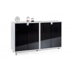 Armario aparador de Oficina Block de Actiu con puertas de Cristal negras
