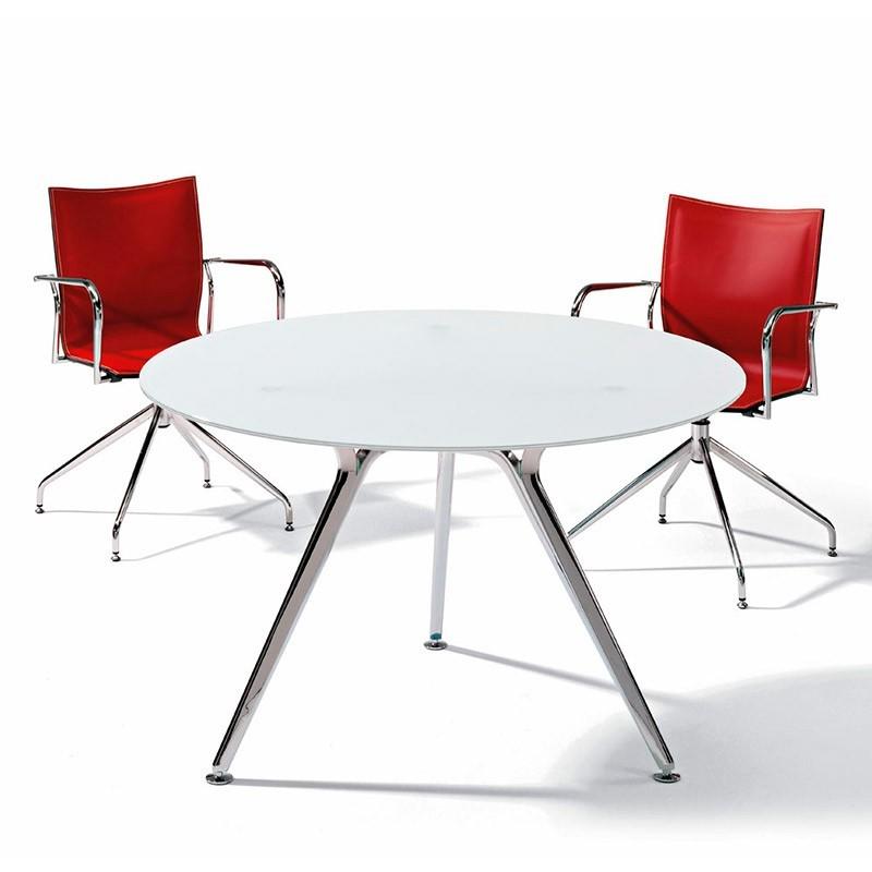 Mesa Reunión Redonda de cristal blanco Arkitek de Actiu