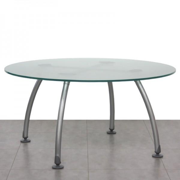 Mesa de Reunión Redonda con Tablero de Cristal