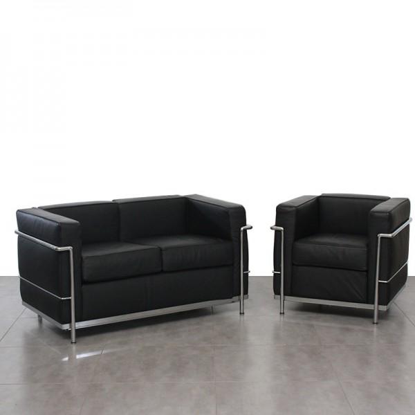 Pack Sillón y Sofá de Piel Diseño inspirado en Le Corbusier