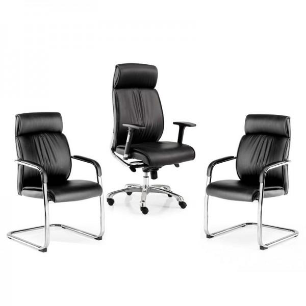 Pack de dos sillas confidente y un sillón de dirección con cabezal serie Moscú de Euromof