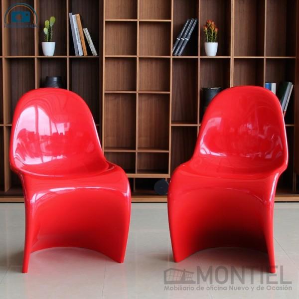 pack de sillas de diseño rojo glossy panton de vitra en oferta