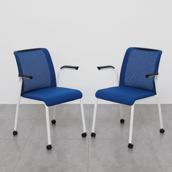 Pack de 2 sillas REPLY confidente Azules Steelcase con ruedas