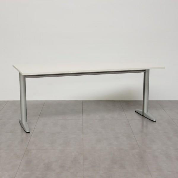 Mesa blanca de escritorio con estructura Gemo MM432