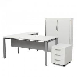 Conjunto de mesa, armario y cajonera de oficina