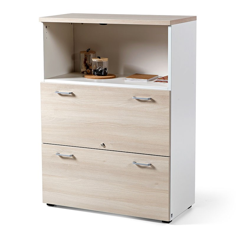 Armario 113x80 cm para Oficina Bicolor blanco-acacia