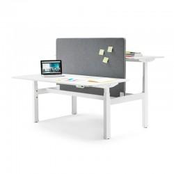 mesa doble con divisoria tela gris