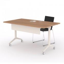 Mesa con Ruedas Tablero Acacia con Estructura Blanca