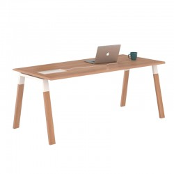 Mesa de Oficina sin Ala Kompás Wood con Tablero Acacia