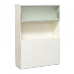 Armario Medio Blanco con Cristalera 159,5x110,5 cm de...