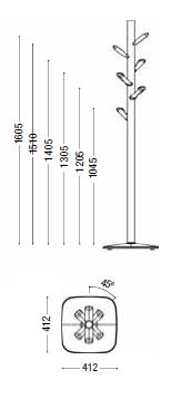 Dimensiones Perchero de Diseño Caddy de ENEA