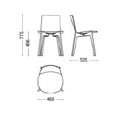 Dimensiones Silla de diseño Lottus Wood de ENEA